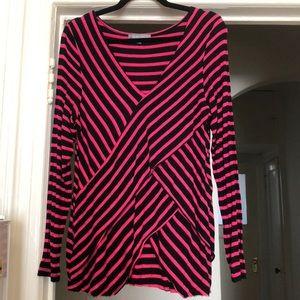 Womens long sleeve black/Pink striped top
